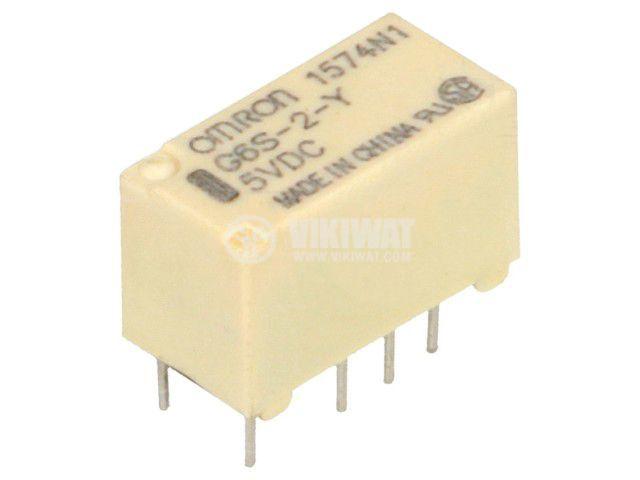 Реле електромагнитно G6S-2-Y 5VDC, бобина 5VDC, 2A, 125VAC, DPDT