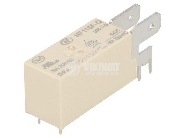 Реле електромагнитно HF115F-Q/006-1H3, бобина 6VDC, 20A, 250VAC, SPST