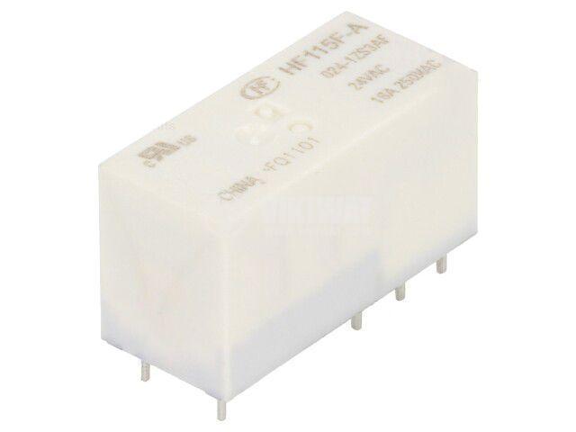 Реле електромагнитно HF115F-A/024-1ZS3AF, бобина 24VAC, 16A, 250VAC