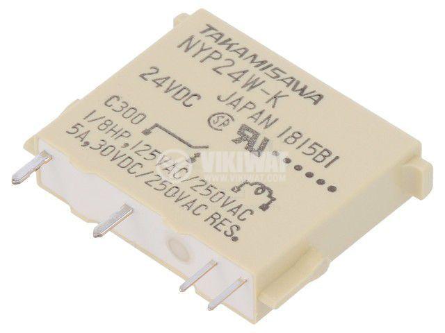 Реле електромагнитно NYP-24W-K-IE, бобина 24VDC, 5A, 250VAC, SPST