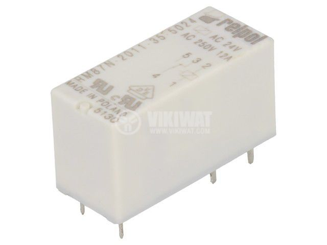 Реле електромагнитно RM87N-2011-35-5024, бобина 24VAC, 12A, 250VAC