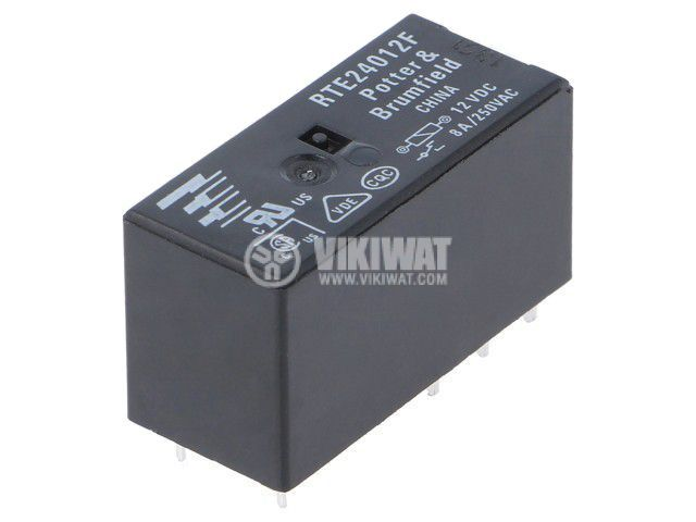 Реле електромагнитно 3-1393237-1, бобина 12VDC, 8A, 250VAC, DPDT