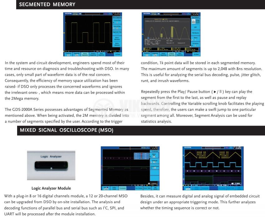 Digital Oscilloscope  GDS-2202A, 200 MHz, 2 GSa/s real time, 2 channel - 3