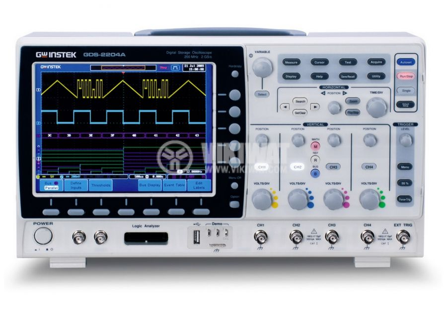 Digital Oscilloscope  GDS-2204A, 200 MHz, 2 GSa/s real time, 4 channel - 1