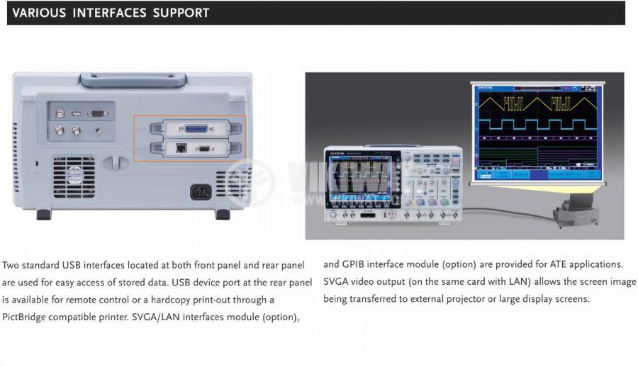 Цифров осцилоскоп GDS-2104A, 100 MHz, 2 GSa/s реално време, 4 канален - 2