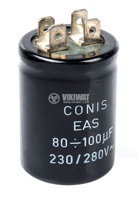 Кондензатор, пусков, 80-100uF, 280VAC, Ф35x59mm, 4 пера (9x6mm) - 2