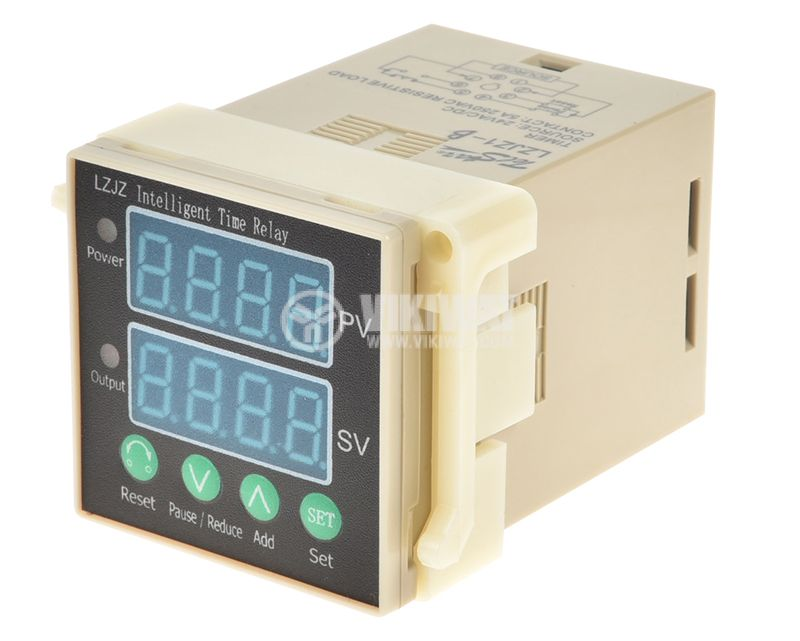 Digital Time Relay, LZJZ1-0210B 1-9999 s, 24VDC, NO+NC, 250VAC, 5A - 1