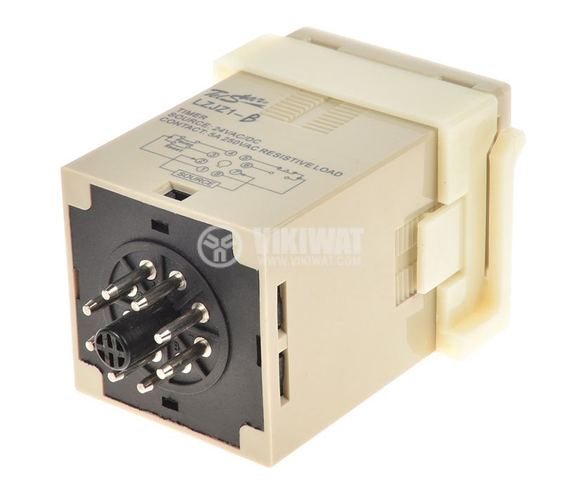Digital Time Relay, LZJZ1-0210B 1-9999 s, 24VDC, NO+NC, 250VAC, 5A - 2