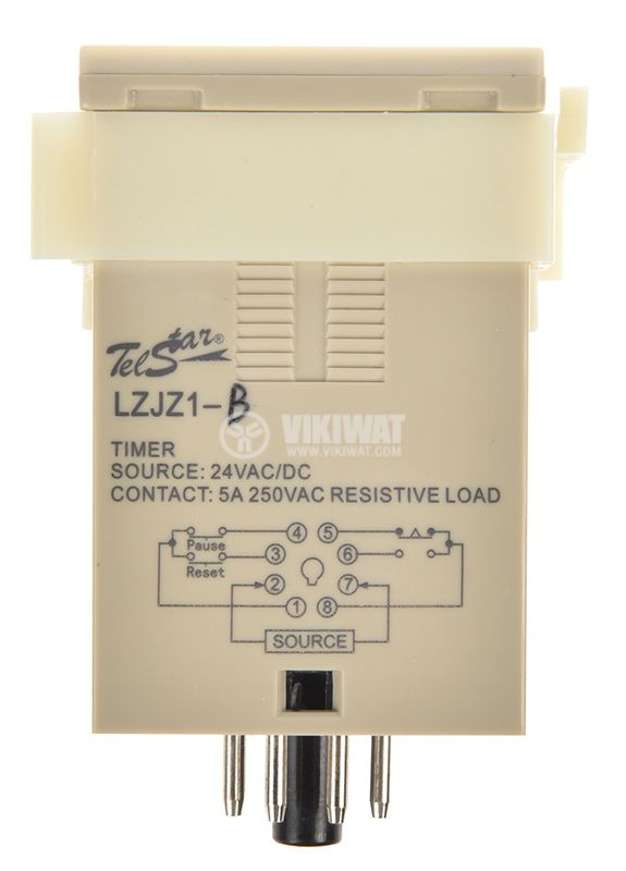 Digital Time Relay, LZJZ1-0210B 1-9999 s, 24VDC, NO+NC, 250VAC, 5A - 3