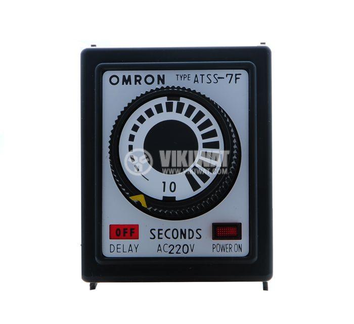 Реле за време, аналогово,  ATSS-7F, 220 VAC, 2NO+2NC, 250 VAC, 5 A, 0 s - 10 s, закъснение при изключване - 2