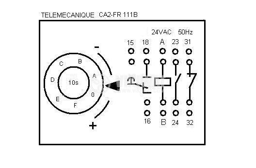 Time Relay, CA2-FR 111B, 24 VAC, 50 Hz/60 Hz, 2NO +2 NC, 500 VAC, 10 A, 0 s - 10 s - 3