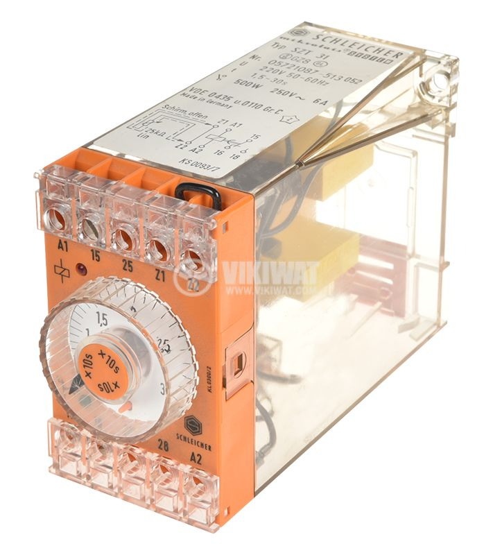 Time relay SZT 31, analog, 220VAC, 6A, SPST NO, 1.5sec - 30secs - 1