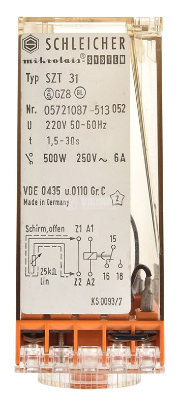 Time relay SZT 31, analog, 220VAC, 6A, SPST NO, 1.5sec - 30secs - 3