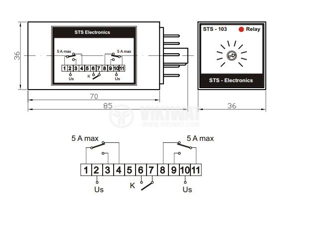 Time Relay, STS103-50, 24 VDC, 2NO +2 NC, 250 VAC, 5 A, 0 s-50 s - 2
