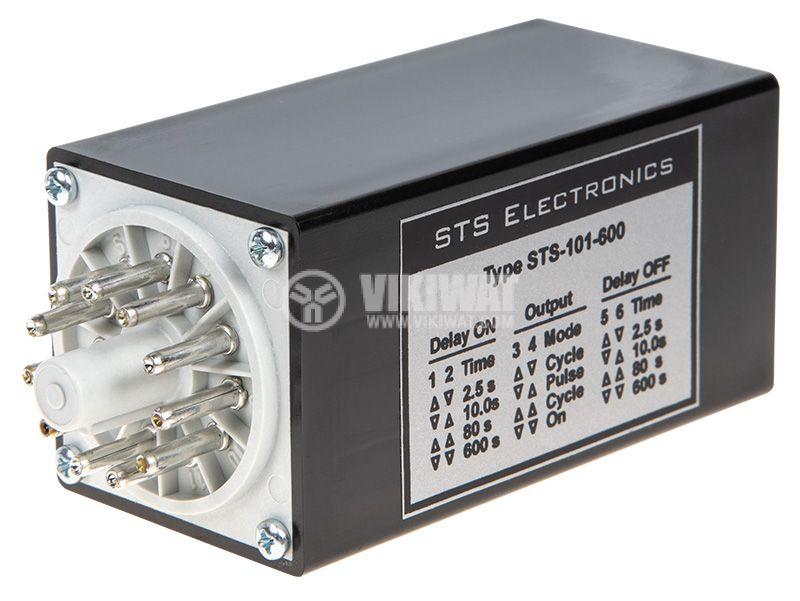 Реле за време, многофункционално 24V AC/DC, 2x(NO+NC), 5(2,0.5) A/250 VAC, 0.25 s - 10 min - 3