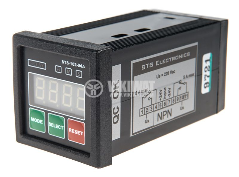 Multifunctional Time Relay, STS102-04A, 24VAC/DC, 2NO+2 NC, 250VAC, 5A, 0s - 10h - 1