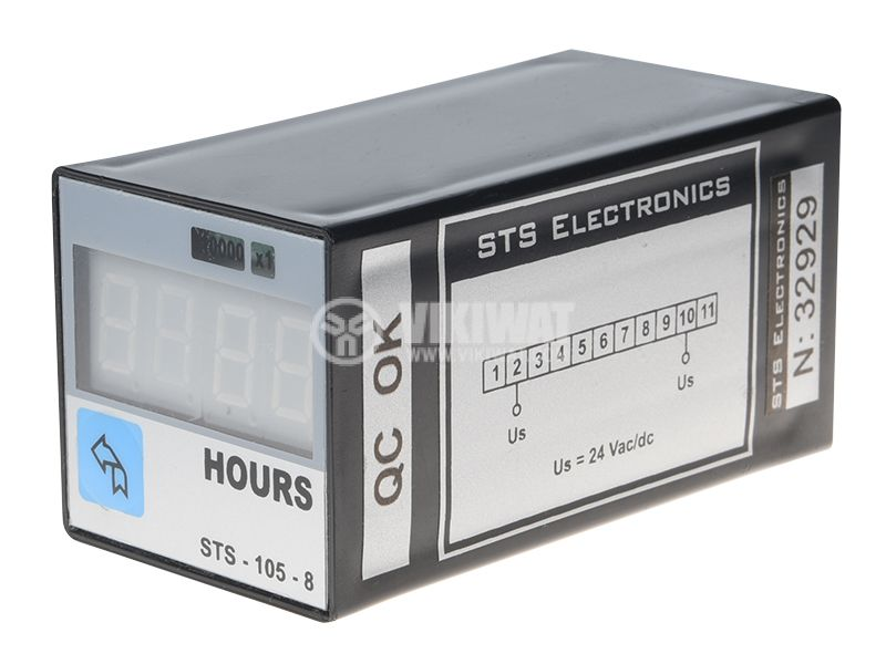 Hour Counter, STS 105-08, 24 VAC / DC, 4 digits - 1
