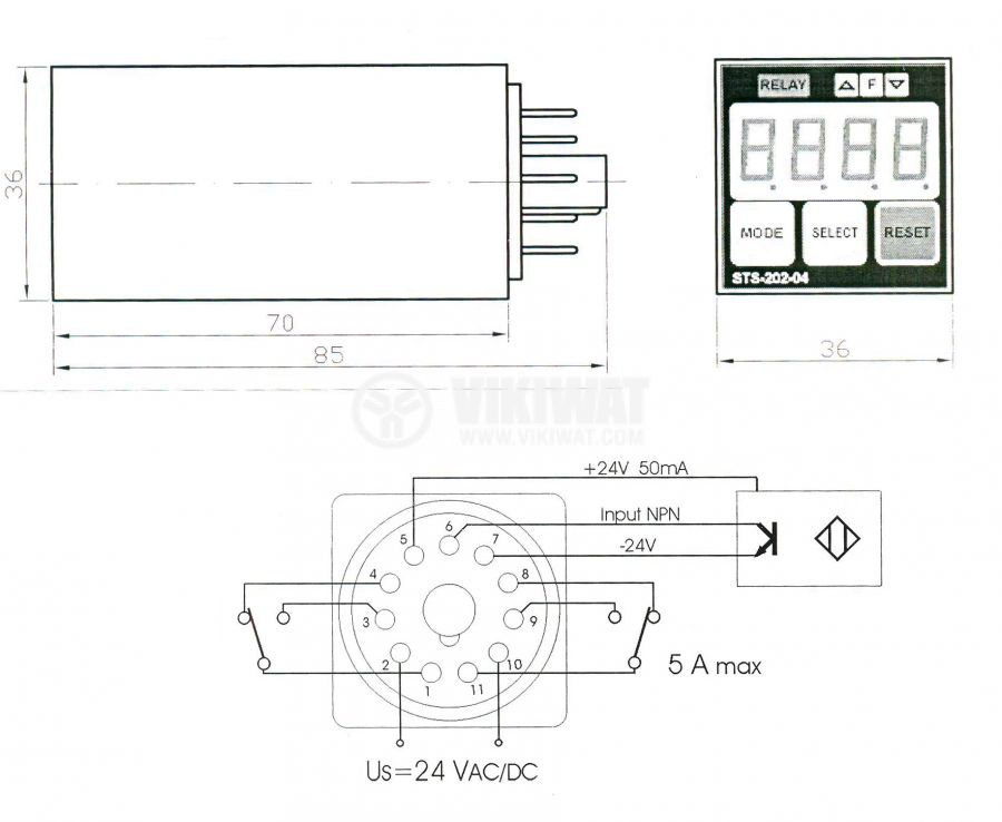 Programmable Impulse Counter, STS 202-04, 24 VAC/DC, 4 digits, 2NO +2 NC, 5A, 250VAC - 2