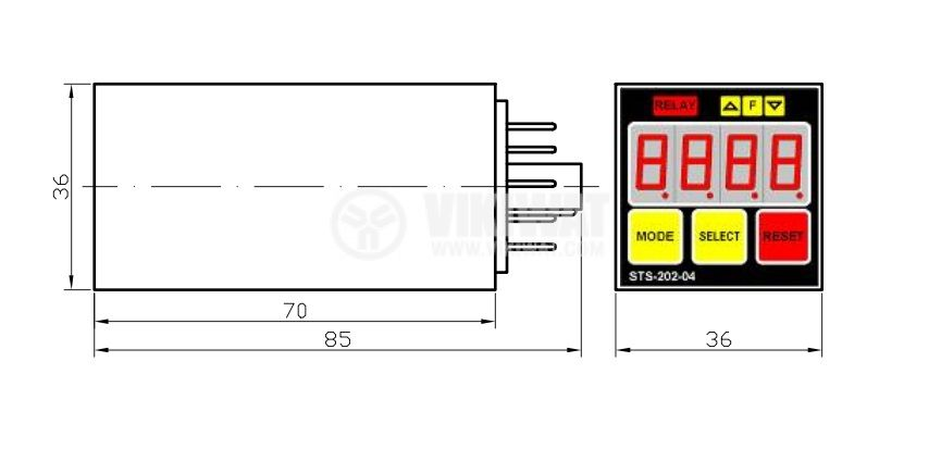 Programmable Impulse Counter, STS 202-04, 24 VAC/DC, 4 digits, 2NO +2 NC, 5A, 250VAC - 3