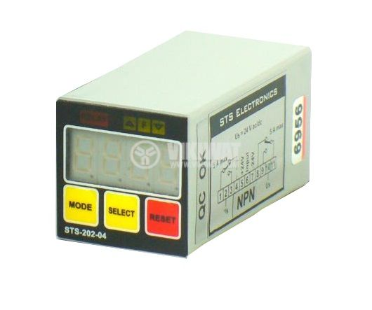 Programmable Impulse Counter, STS 202-04, 24 VAC/DC, 4 digits, 2NO +2 NC, 5A, 250VAC - 1