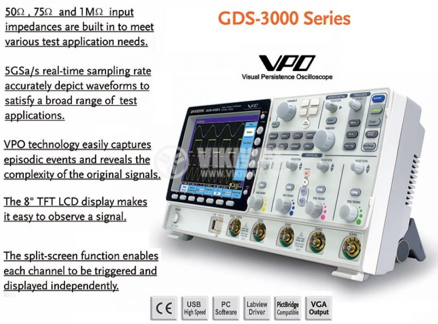 Digital Oscilloscope  GDS-3154, 150 MHz, 5 GSa/s real time, 4 channel - 2