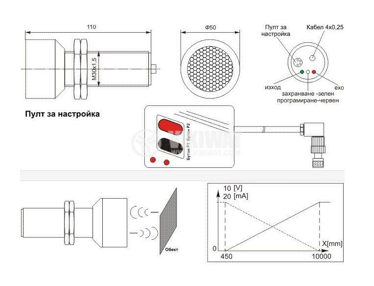 Ultrasonic Sensor, UD73AI01-10, M30x100 mm, 14-30 VDC, 0-20 mA, 10 m - 2