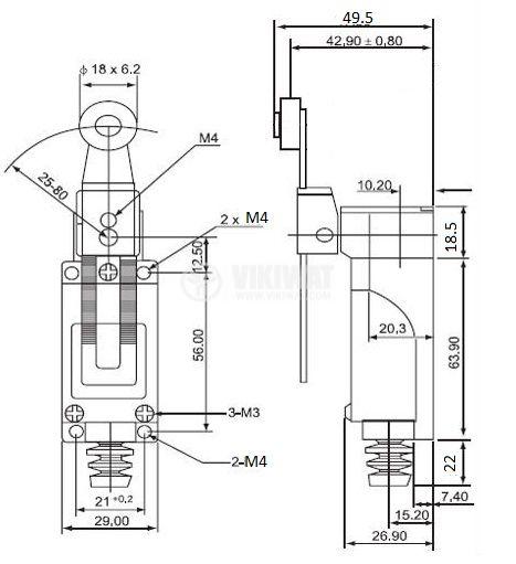 Краен изключвател TZ-8108, DPST-NO+NC, 5A/250VAC, регулируема ролка - 4