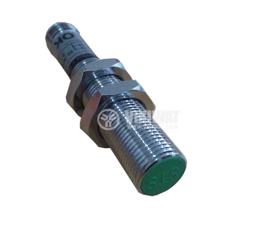 Индуктивен датчик M8x60mm ID08N1E1C NPN  NO 10-30VDC за куплунг, обхват 1mm, екраниран - 1