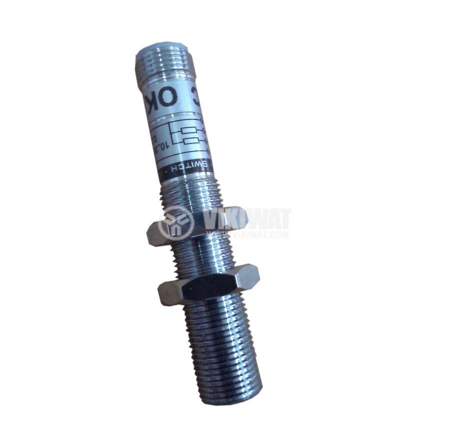 Индуктивен датчик M8x60mm ID08N1E1C NPN  NO 10-30VDC за куплунг, обхват 1mm, екраниран - 3