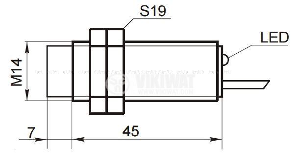 Proximity Switch ID14N3S1L, M14x52mm, NPN, NO+NC, 10-30VDC, range 4mm, non-shielded - 2