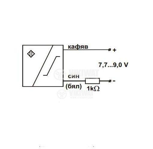 Индуктивен датчик NAMUR IN18ES1 M18x60mm 7-9VDC, обхват 5mm, екраниран - 3