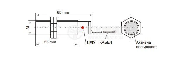 Proximity Switch M18x60mm IA18U1E1LB NO 24-250VAC, range 5mm, shielded - 2