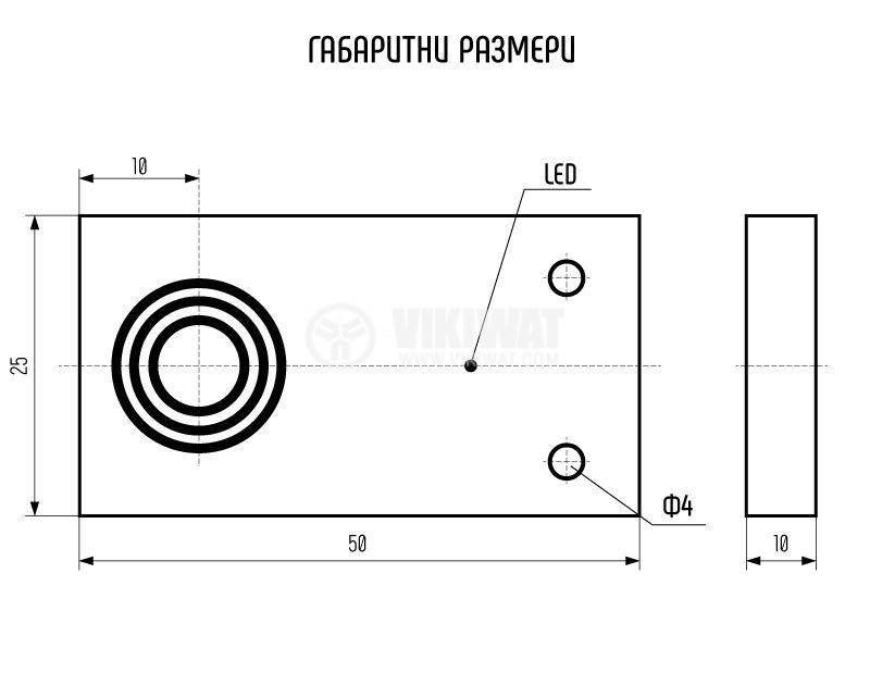 Proximity Switch 25x10x50mm ID56P1E1L PNP NO 10-30VDC, range 5mm, non-shielded - 5