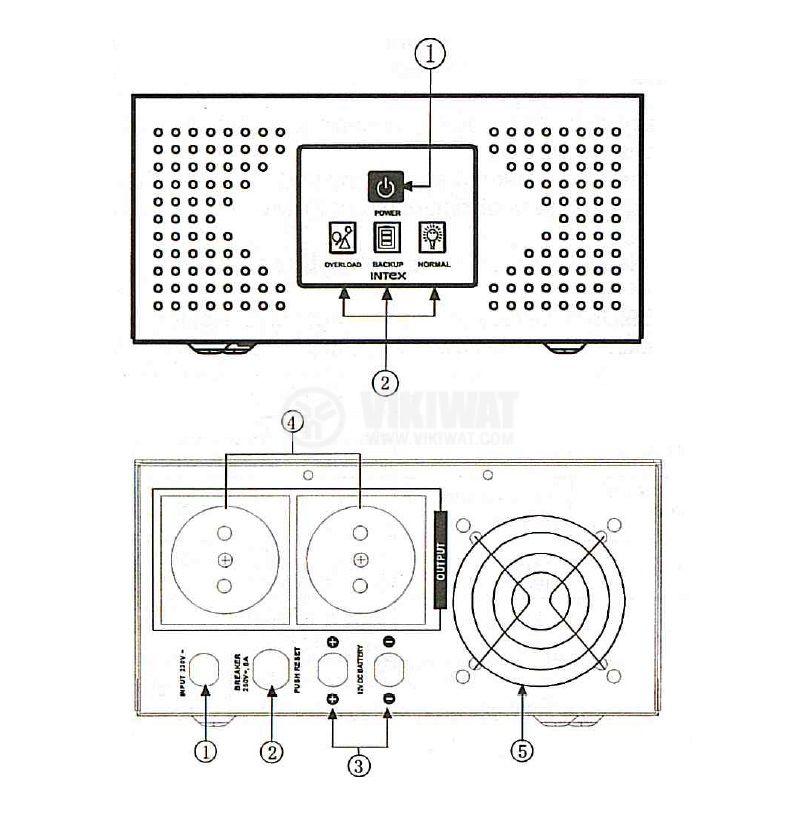 Инвертор със зарядно, UPS устройство, 12VDC-220VAC, 400W, с истинска синусоида, модел KOM0229 Intex - 4