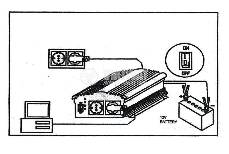Инвертор със зарядно, UPS устройство, 12VDC-220VAC, 400W, с истинска синусоида, модел KOM0229 Intex - 5