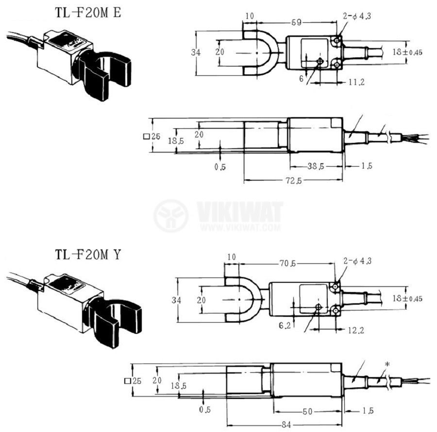 Proximity Switch TL-F20ME1, 10-30 VDC, NPN ,NO, Ф20 mm, range 2-20 mm - 3