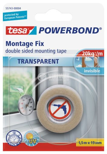 Double-sided mounting tape, 1.5m x 19mm, clear