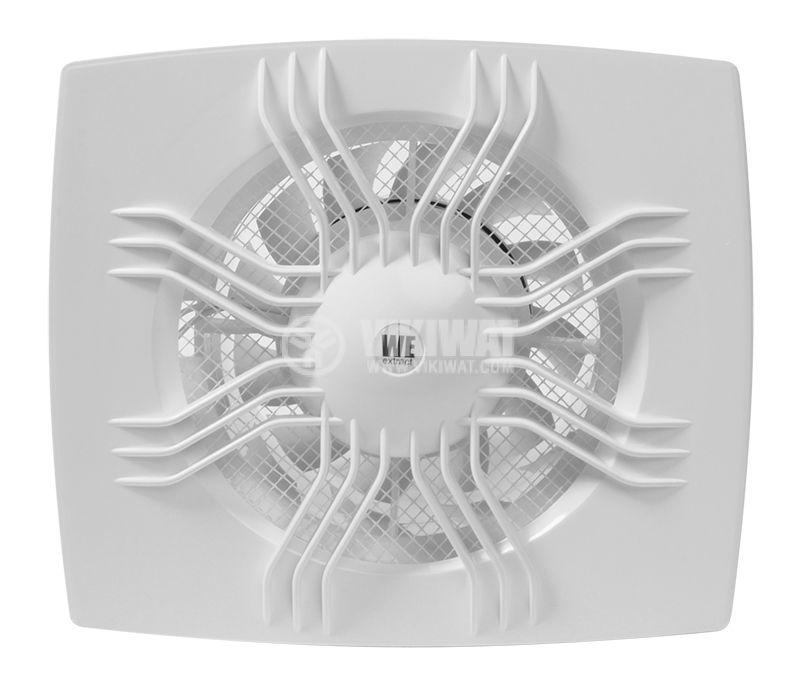 Bathroom fan, Extractor fan 100, 220 VAC, ф100 mm, 95 m3/h, 11 W, with valve - 1