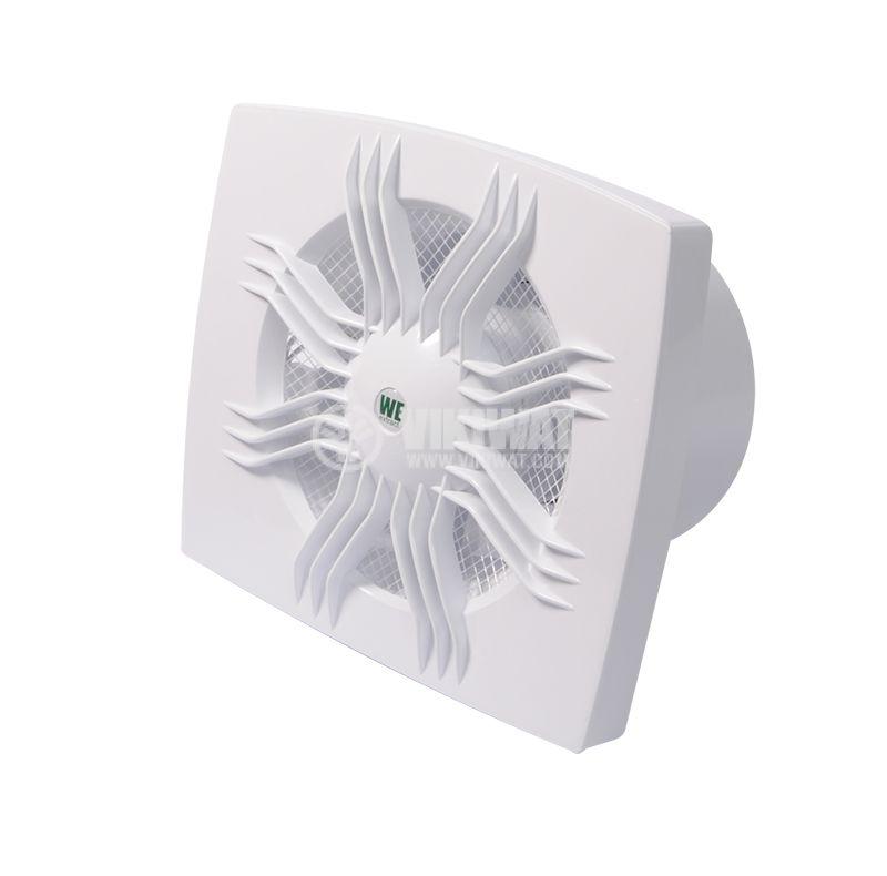 Bathroom fan, Extractor fan 100, 220 VAC, ф100 mm, 95 m3/h, 11 W, with valve - 2