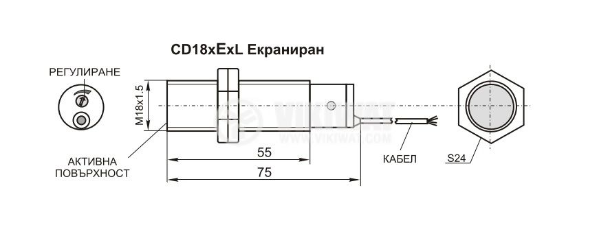 Капацитивен датчик, CD18PE21L, 10-30 VDC, PNP, NO, М18x75mm, 5mm, екраниран - 2