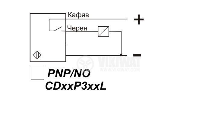 Капацитивен датчик, CD18PE21L, 10-30 VDC, PNP, NO, М18x75mm, 5mm, екраниран - 3