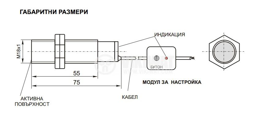 Капацитивен датчик, самообучаващ се, M18x75mm, 10-30 VDC, 10mm, NPN (PNP), NO (NC), екраниран - 2