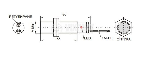 Оптичен датчик ODM18N111L NPN NO+NC M18x78mm маркерен зелен 10-30VDC обхват 20mm месинг - 2