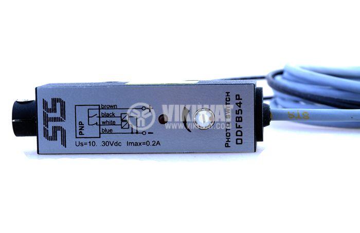 Оптичен датчик бариерен с оптични влакна ODFB54N311L NPN NO+NC  78x22x20mm 10-30VDC обхват 100mm алуминий - 2