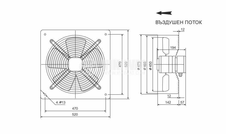 Fan, industrial, axial, ф450mm, 5410m3 / h, 240W, FDA-4E-450B, 220VAC - 2