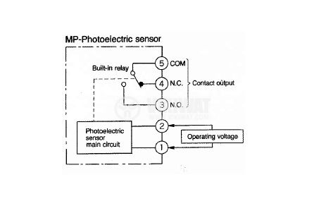 Optoelectronic Switch MP-D70P AN45486 220VAC, NO + NC diffuse 250VAC range 700mm (0.7m) plastic - 2