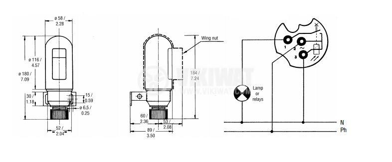 Light sensitive sensor FF LUAN 74 RO 220VAC NO F56x180mm metal - 2