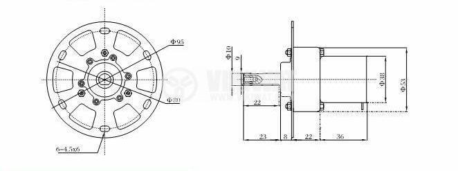 Електродвигател, постояннотоков, с редуктор, 12VDC, 14rpm, V3KT-38ZY-13-253i - 2