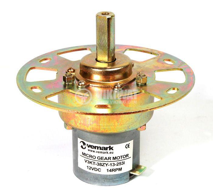 Електродвигател, постояннотоков, с редуктор, 12VDC, 14rpm, V3KT-38ZY-13-253i - 1