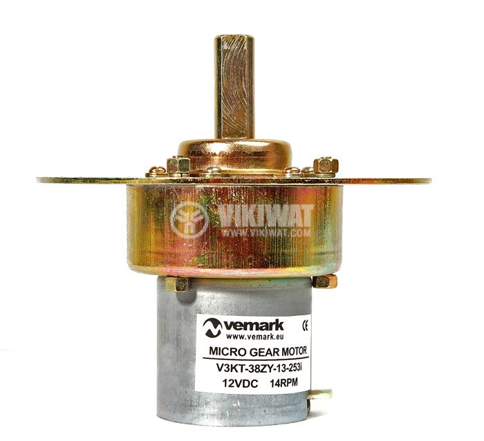 Електродвигател, постояннотоков, с редуктор, 12VDC, 14rpm, V3KT-38ZY-13-253i - 3